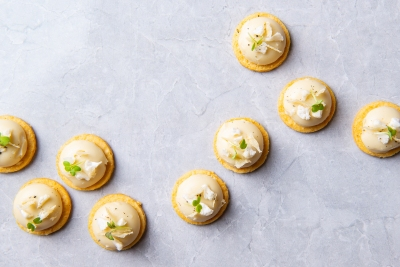 66.-Reggiano-Shortbread-Cauliflower-Pannacotta-with-Lemon-and-Chive-Canapes-Dish-Catering