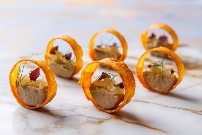 67.-Duck-Liver-Parfait-in-a-Crispy-Chicken-Canape-with-Apple-Relish-Dish-Catering